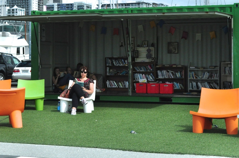 There's a tiny room of books located in the middle of a field. Take some time to read from any of the novels and magazines on the shelves.