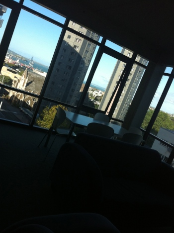 View from my living room. Yes, that is the Pacific Ocean.